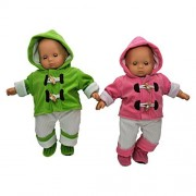 Set of Two Complete Bitty 15 Inch Baby Doll Twin Overall Outfits Pink & Green, Overalls, Shirt, Bootie Shoes. Two Complete Outfits fit Bitty Baby Twins