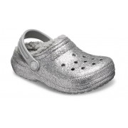 Crocs Classic Glitter Lined Klompen Kinder Silver / Silver 32