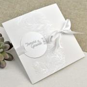 Invitatie nunta de culoare alba cod 39635