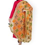 Weavers Villa Punjabi Hand Embroidery Phulkari Faux Chiffon Beige Dupatta Stoles