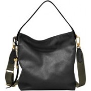 Fossil Women Black Genuine Leather Hobo