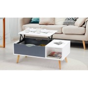 Groupon Goods Table basse relevable Fjola : Grand modèle / Blanc et gris