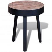 vidaXL Masă laterală rotundă din lemn de tec reciclat