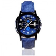 New Lorem Blue Day And Date Dile Leather Belt Professional Analog Watch For men Boys