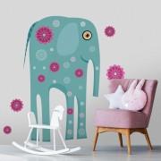 Stickere perete copii Elefant cu flori - 129 x 115 cm