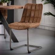 Braun Freischwinger Sessel aus Recyclingleder Braun Edelstahl (2er Set)