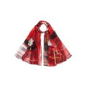 【63%OFF】CHOI HUNG MARKETS シルク スカーフ レッド/ブラック/ホワイト ファッション > ファッション小物~~スカーフ