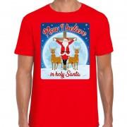 Bellatio Decorations Fout kerst t-shirt now I believe rood voor heren L - kerst t-shirts