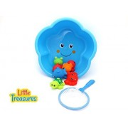 Little Treasures Baby Bath Sea Animals Fishing Toy set 9pc Included a Star Shaped Bowl with a Fishing Net to Catch & Store all The Pray Your Baby Catches