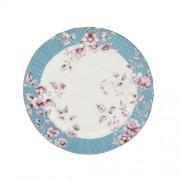 Porcelán desszerttányér 190mm, kék szegéllyel, Ditsy Floral