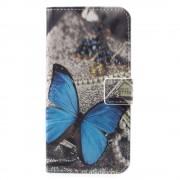 Кожен калъф тип портмоне за Huawei P9 lite mini - синя пеперуда