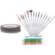 Looks United 15 Nail Kit Art Brushes 5 Two Way Dotting Tools 5 Glitter Striping Tape Rolls (Set of 25)