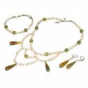 Set bijuterii GANELLI- colier bratara cercei din pietre semipretioase Agate braziliene Jad Serpentin Perle naturale cultura