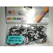 Rubbzy Black & White Glitter Tie Dye Loose Rubber Bands