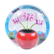 elegantstunning Automobile Decoration Solar Power Automatic Swing Apple Flowerpot Moving Dancing Butterfly Car Toy