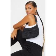 PrettyLittleThing Petit sac à main froncé noir, Noir - One Size