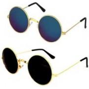 John Dior Round, Round Sunglasses(Blue, Black)