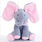 ESCLUSIVO PEEK-A-BOO INTERACTIVE ELEPHANT STUFFED TOY GREY AND PINK