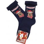 Merry Christmas szarvas sötétkék - visszahajtós frottír zokni