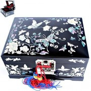 Jewelry Boxes Organizers Music Box 2 Darwers Mother of Pearl Women Gift Items LM1002Black by Krlight