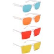 NuVew Wayfarer, Retro Square Sunglasses(Green, Orange, Red, Yellow)
