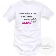 SiMEDIO Body bébé personnalisé : après des mois d'attente VOICI... (pour fille et garçon) - cadeau naissance original - Violet Courtes
