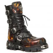 bőr csizma - Flame Boots (591-S1) Black-Orange - NEW ROCK - M.591-S1