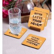 Crazy Sutra Premium HD Printed Standard Size Coasters for Tea Coffee Cups Mugs Beer Cans Bar Glass Home Kitchen Office Desk Set of-4 (Cos-GoodThingsHappen)