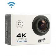 Ychaoya Cámara del Deporte H9A HD 4K WiFi con el Estuche estanco al Agua, Generalplus 4247, Pantalla LCD de 2,0 Pulgadas, de 120 Grados Lente Gran Angular (Negro) (Color : Blanco)