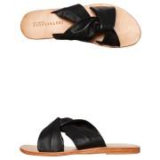 Just Because Womens Malvi Leather Slide Black