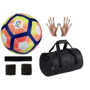 Combo of Laliga Red/Yellow Football (Size-5) Kit Bag & Supporters
