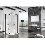 Ravak Pivot PSKK3-80 háromrészes negyedköríves kifelé nyíló zuhanysarok black+Transparent