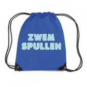Bellatio Decorations Zwemspullen rugzakje / zwemtas met rijgkoord blauw