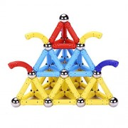 PlayMaty 136 Pieces Magnetic Toys Magnets Building Sets Link Shape Toy with Magnet Sticks for Kids Playing Stacking Game