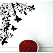 EJA Art Butterfly Floral Corner Wall Sticker (Material - PVC) (Pec - 1) With Free Set of 12 pec butterflies sticker