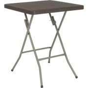 Flash Furniture Square Plastic Rattan Folding Table - Brown, 23 1/2Inch L x 23 1/2Inch W, Model DADFT60