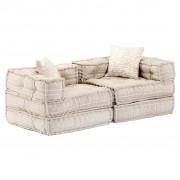 vidaXL Canapea extensibilă modulară cu 2 locuri, bej, material textil