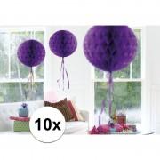 Merkloos 10x feestversiering decoratie bollen paars 30 cm