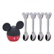 "Set solnita cu lingurite copii 5 piese ""Mickey Mouse"", WMF, 5 cm, 1296396040, inox, Gri"