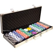 Алуминиево куфарче с 500 покер чипа без номинали