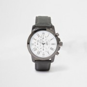 River Island Mens Grey leather look strap round face watch (One Size)