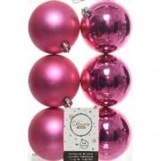 Decoris 6x Fuchsia roze kerstballen 8 cm kunststof mat/glans - Kerstbal