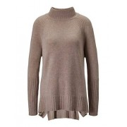 MADELEINE Cachemire Pull. Pur cachemire femme taupe chiné / taupe