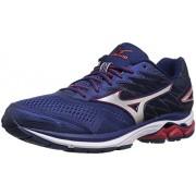 Mizuno Men's Wave Rider 20 Running Shoe, Blue Depths/Silver, 8 D US