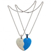 Men Style Beautifull Flower Best Friend Couple Heart Locket With 2 Pcs Chain Blue And Silver Stainless Steel Necklace Pendant For Men