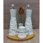 Set bucatarie 4 piese ceramica cu tava din bambus si suport inox