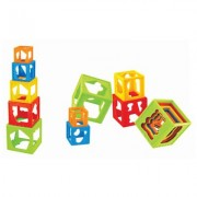 Set Of 5 Pcs Colored Plastic Shape Sorting Stack & Nest Play Toy Cubes For Babies, Infants - Developmental Toys For Babies Ages 12 Months +