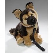 Merkloos Pluche Duitse Herder honden knuffel aan lijn 25 cm