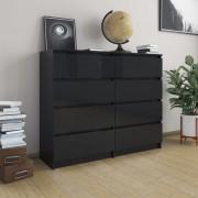 vidaXL Скрин с чекмеджета, черно със силен гланц, 120x35x99 см, ПДЧ