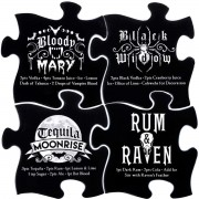 Gothic Cocktails puzzel onderzetter set zwart - Alchemy Gothic